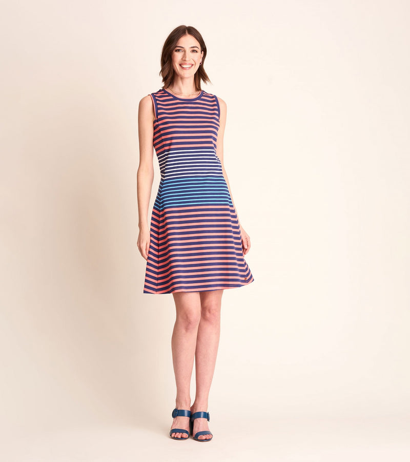 Sarah Dress -Navy and Coral Stripe