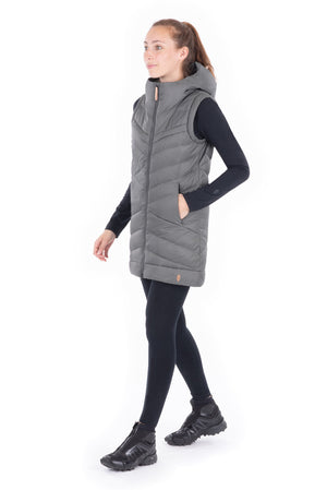 DOLGA - SLEEVELESS LONG VEST WITH HOOD