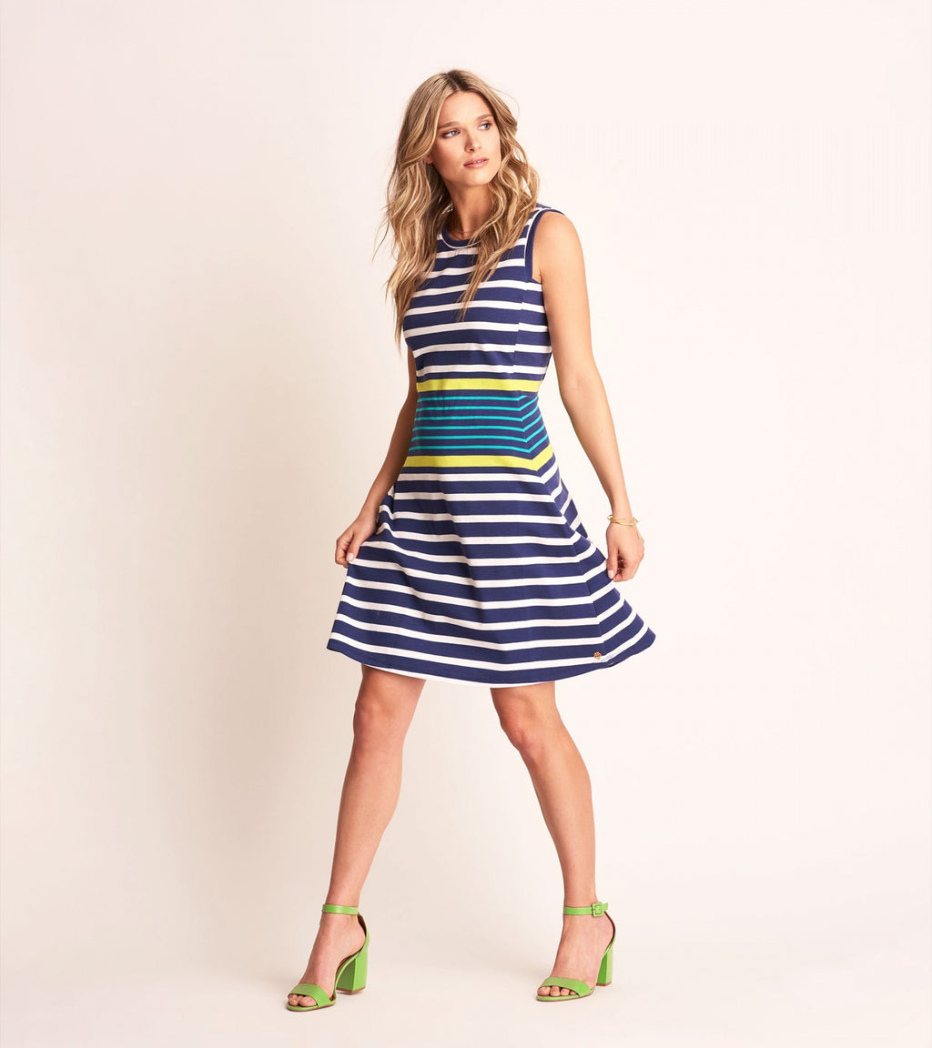 Sarah Dress - Navy Stripe