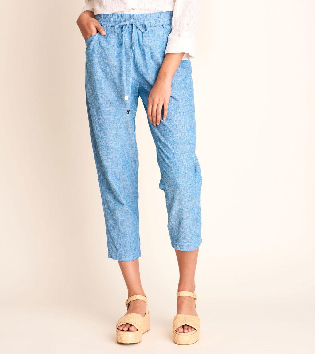 Sierra Linen Cotton Pants - Chambray