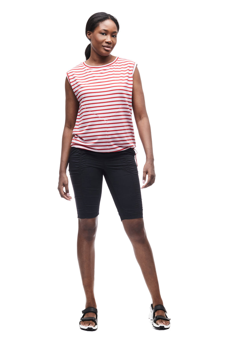 GOMA – Jersey drirelease® sleeveless top - Candy Apple Stripe