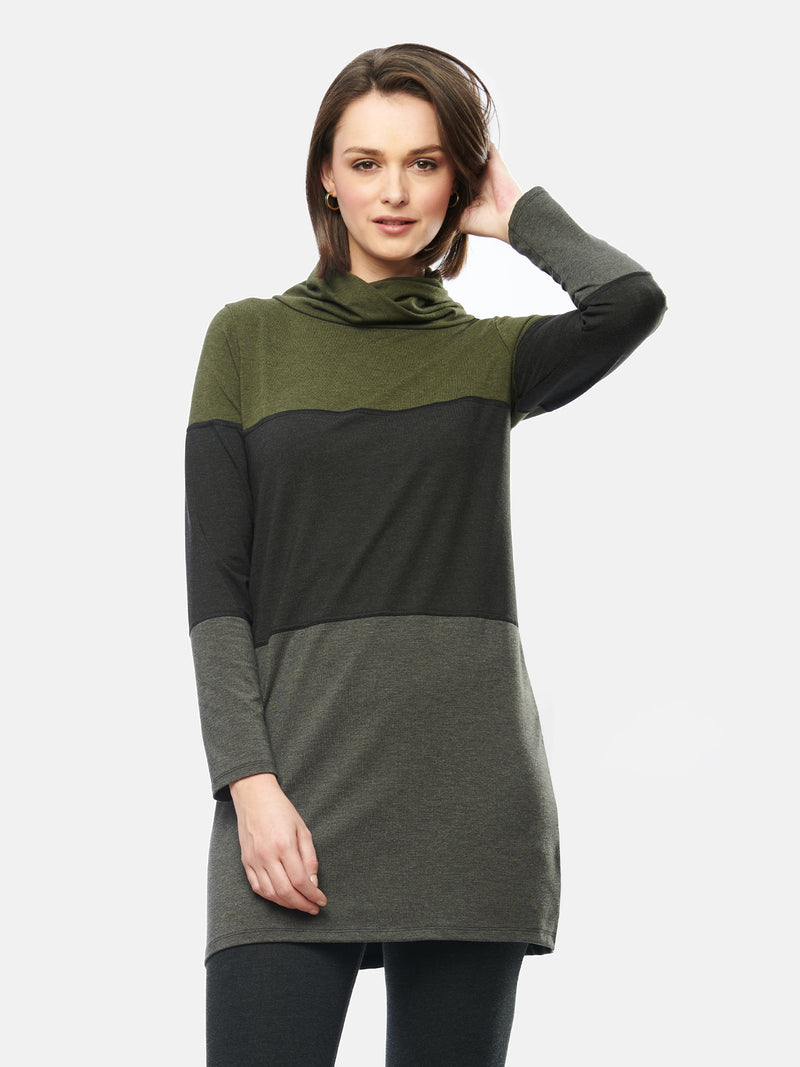 Hasha Colour Block Twisted Cowl Tunic