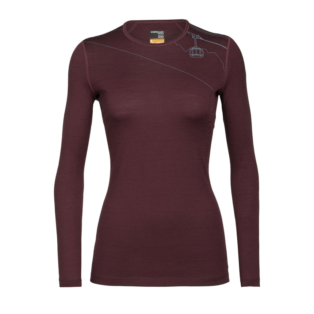 Women's Merino 200 Oasis Long Sleeve Crewe Thermal Top - Redwood