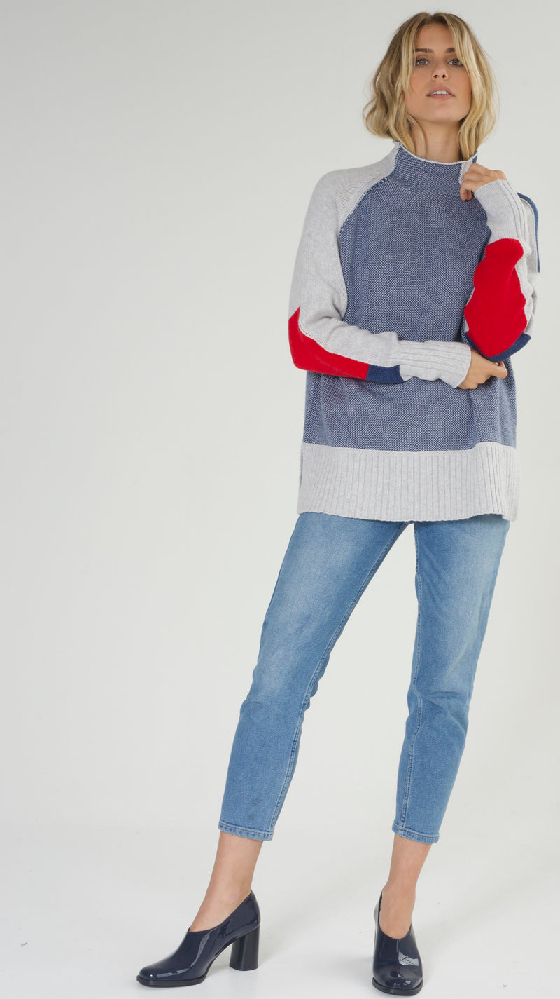 Funnel Neck Intarsia Sweater