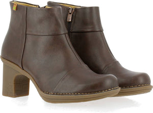 N5401T Brown Heeled Ankle Boots Dovela