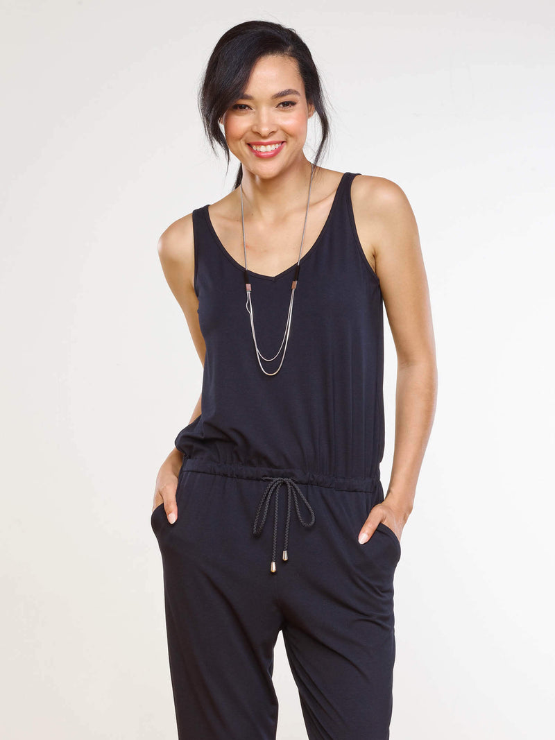 Jojo Drawstring Jumpsuit - Black