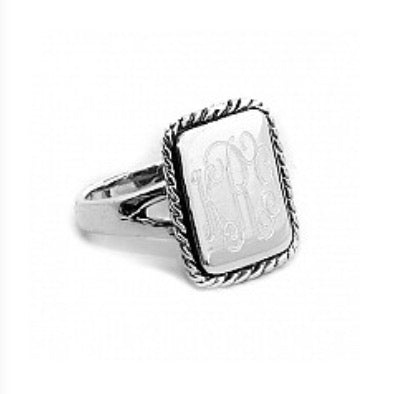 Sterling Silver Rectangle Monogram Ring