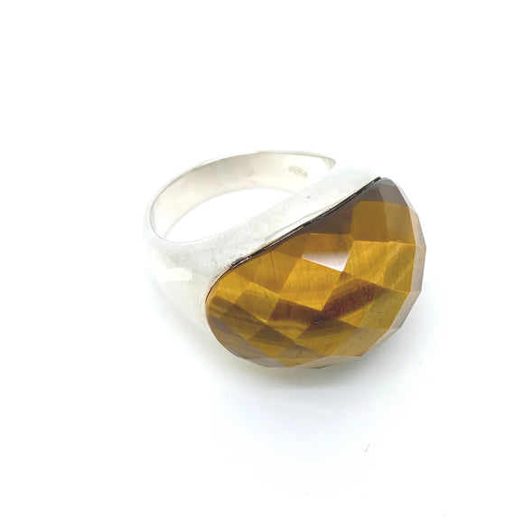 Sterling Silver Faceted Tiger Eye  Ring