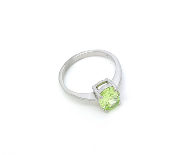 Sterling Silver Peridot CZ Ring