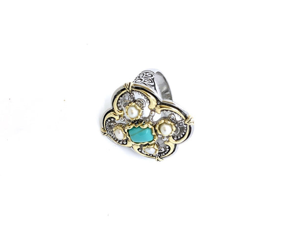 Sterling Silver Two Tone Turquoise / Pearl Ring