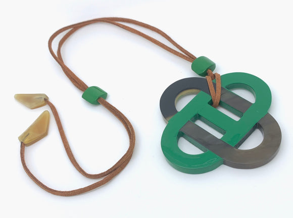 Natural Brown/Green Horn Necklace