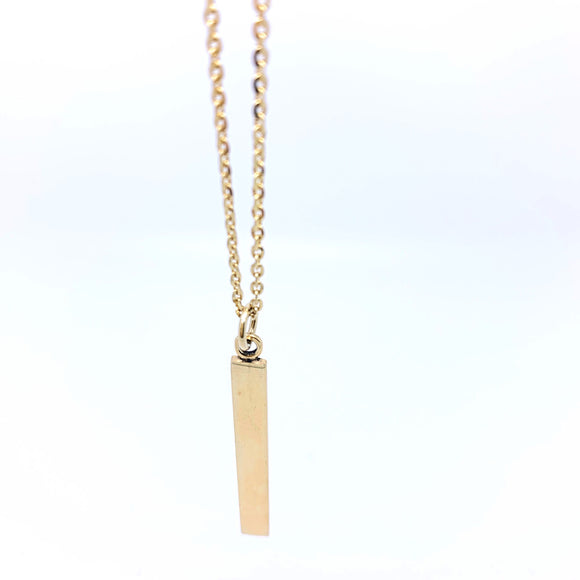 Gold Plated Sterling Silver Vertical Name Plate Necklace