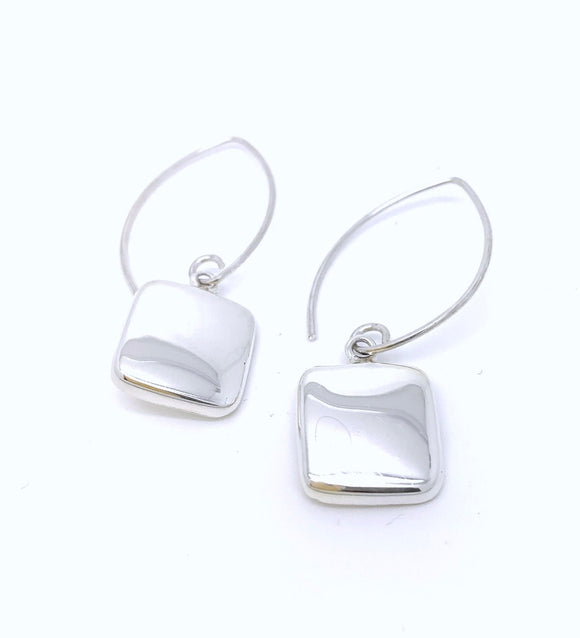 Sterling Silver Square Domed Earrings