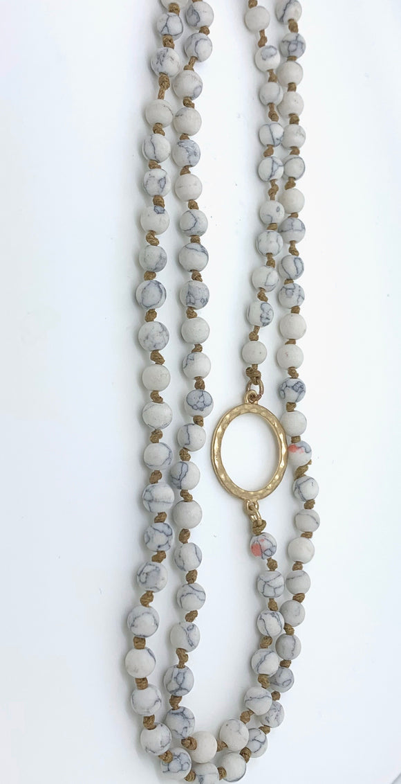 Light Gray Magnesite Bead Necklace