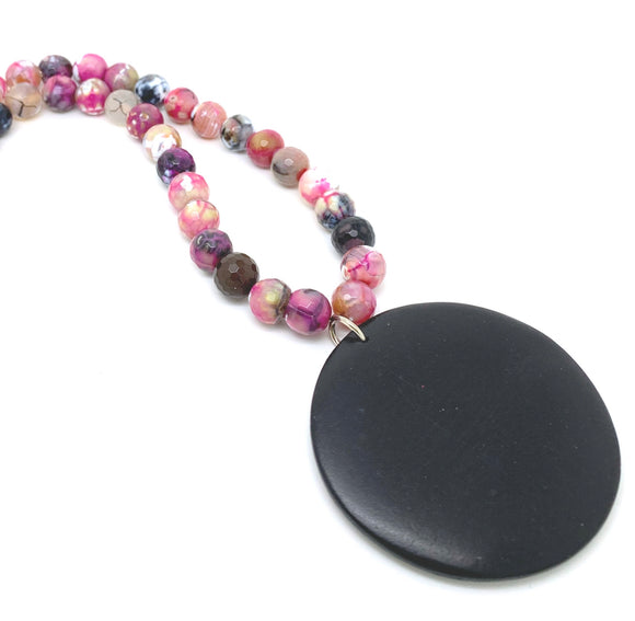 Wood Tourmaline Bead Necklace