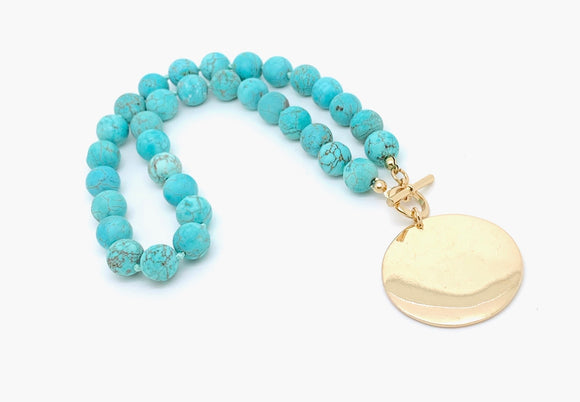 Turquoise Engravable Howlite Bead Necklace