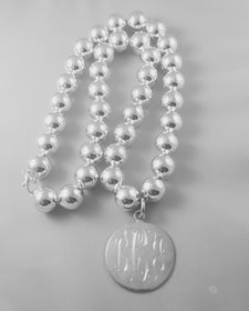 Monogrammed Silver 14mm Bead Necklace