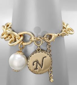 Initial Gold Charm Bracelet With Pearl