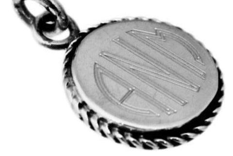 Sterling Silver Lg Round Pendant with Rope Edge