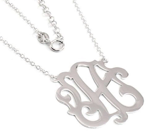 Sterling Silver Initial Cutout Necklace