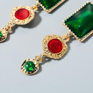 Red & Green drop earrings
