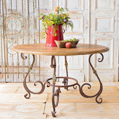 Round Provence Table, France, Reclaimed Materials