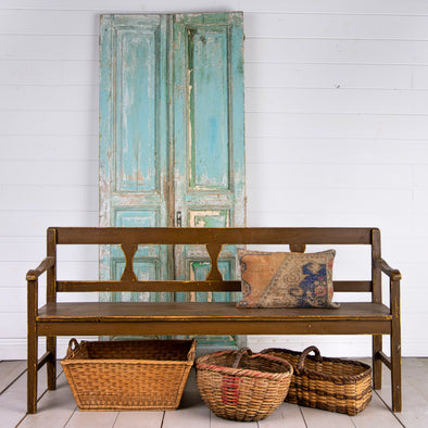 Brown Farmhouse Bench, Hungary c. 1920