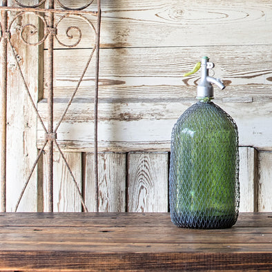 Green 1.5-Liter Seltzer Bottle with Wire, Romania c. 1930
