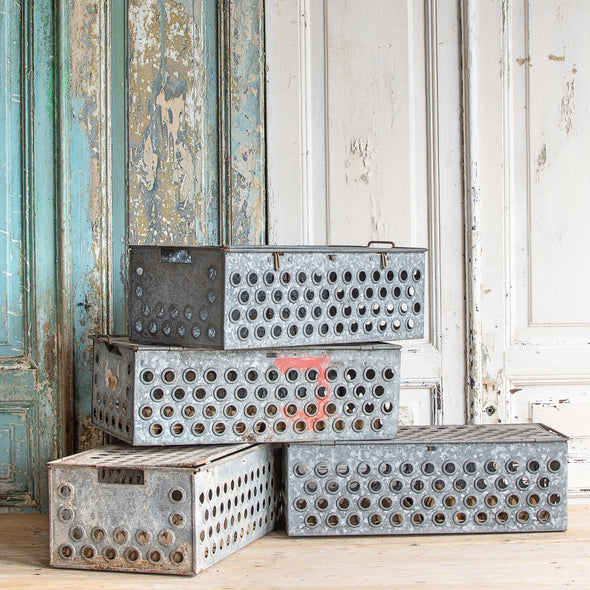 Metal Egg Transport Crate with Lid, France c. 1950