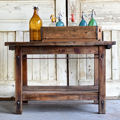 Vintage Industrial Work Table, Hungary c. 1930