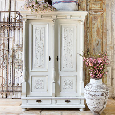 Antique White Carved Cupboard, Belgium c. 1900