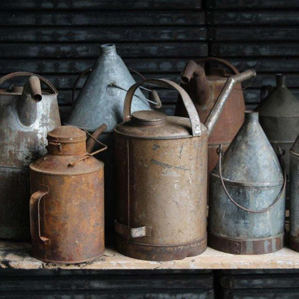 Vintage Galvanized Steel Oil Cans, Europe c. 1950