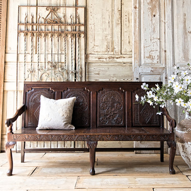 Antique Carved Oak Bench, England c. 1880