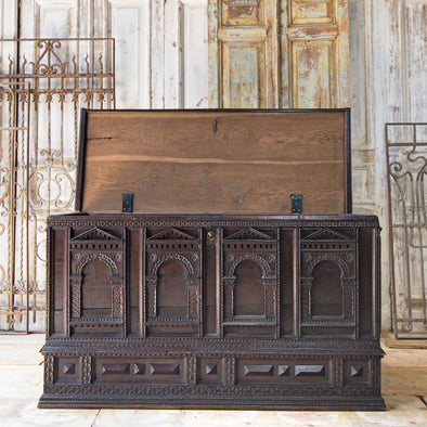 Antique XL Oak Storage Chest, Germany c. 1760