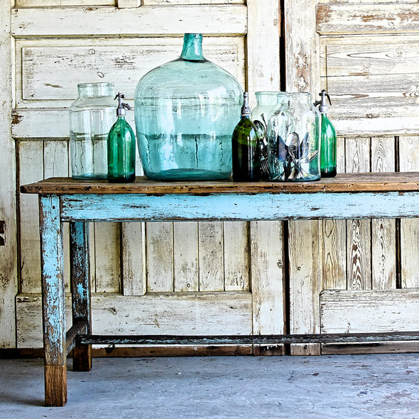 Antique Blue Farmhouse Table, France c. 1910