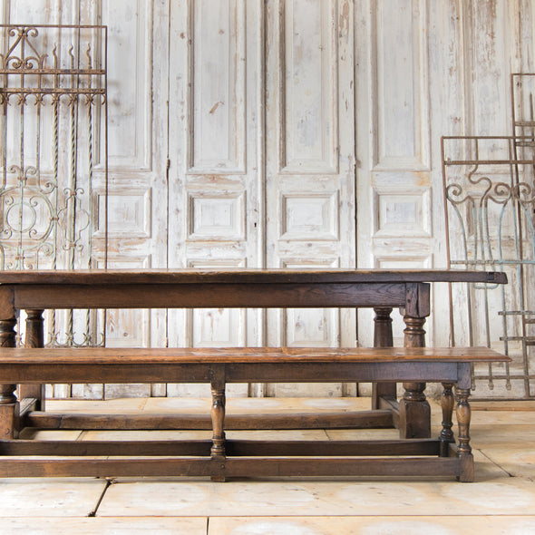 Antique Oak Refectory Table with 2 Benches, England c. 1750