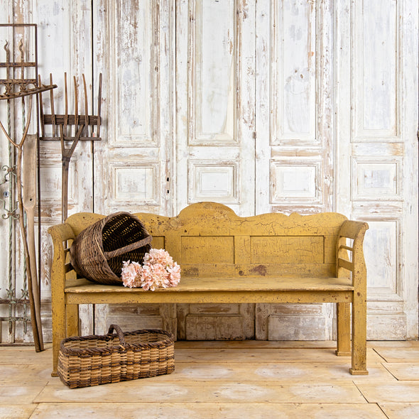 Authentic Yellow Farmhouse Bench, Hungary c. 1910