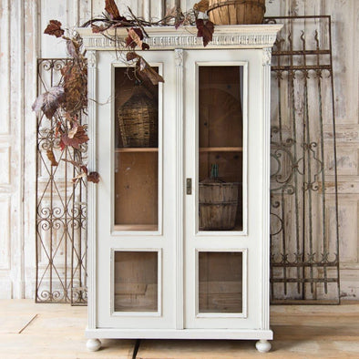 Antique White China Cabinet, Hungary c. 1900