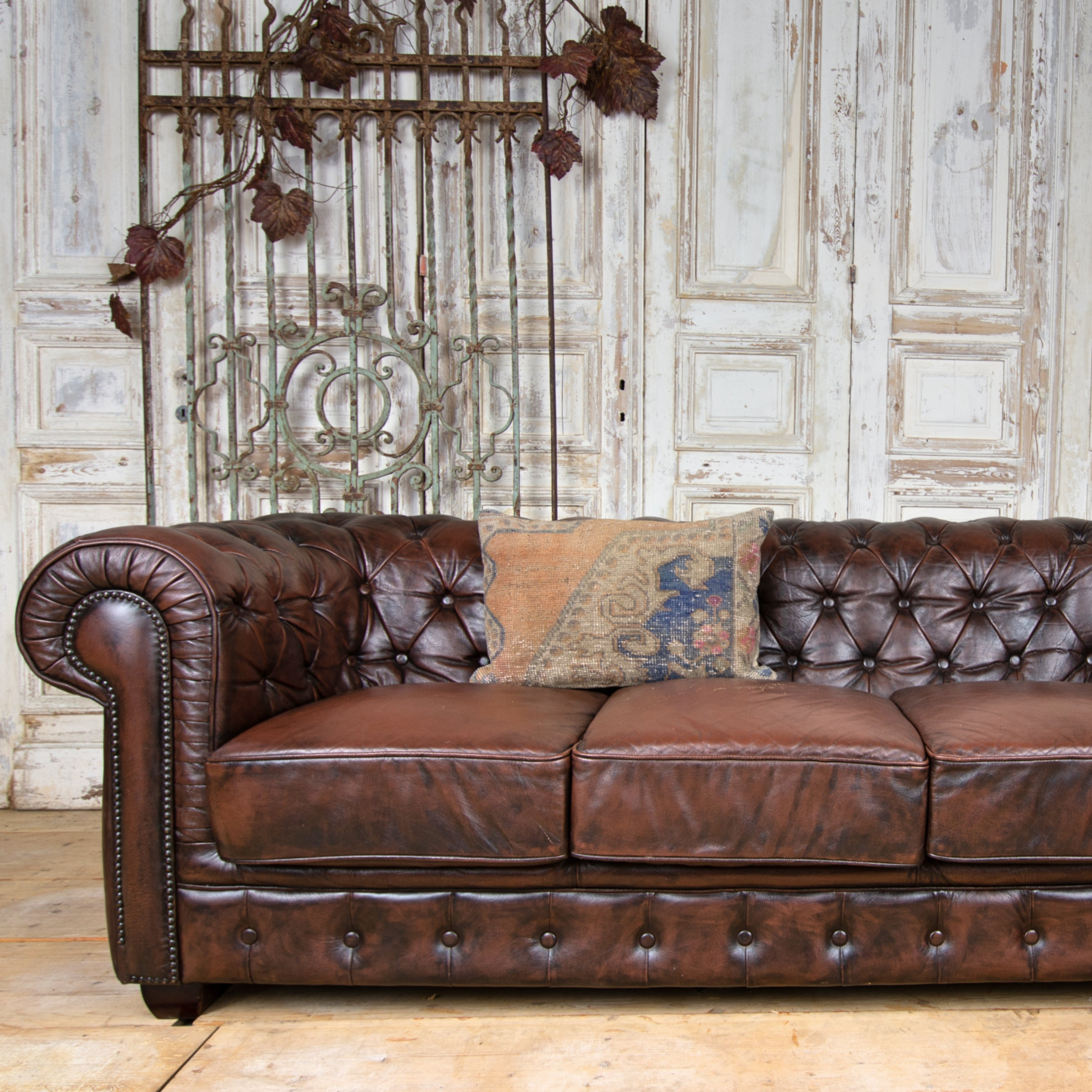 Leather 3-Seater Chesterfield Sofa, England c. 1980 ...