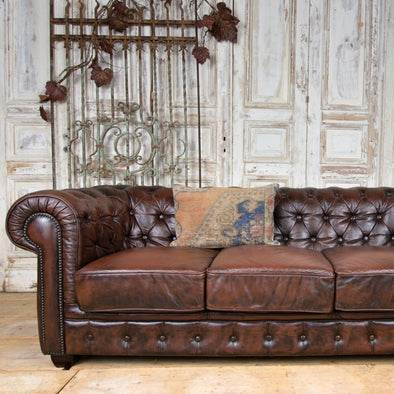 Leather 3-Seater Chesterfield Sofa, England c. 1980