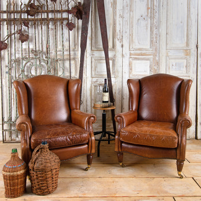Laura Ashley Southwold Wing Back Leather Armchair, Set of 2, England Late 1900's