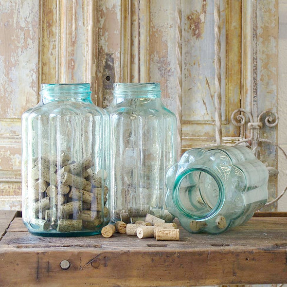 Pale Aqua Blue Ribbed Pickling Jar, Hungary c. 1950