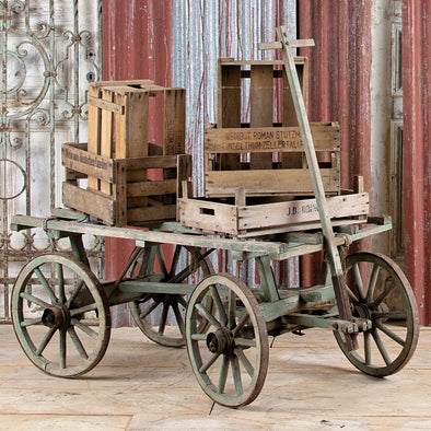 Green Flat Top Farm Cart, France c. 1930