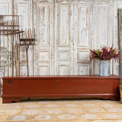 Authentic Red Storage Bench, France c. 1890