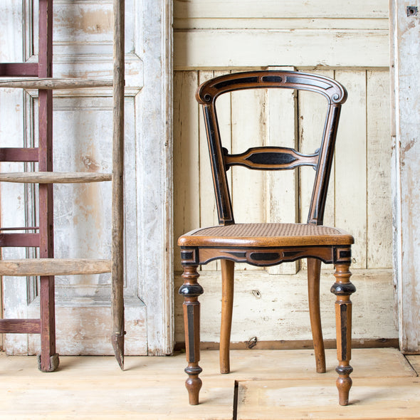 Antique Napoleon Chair with Cane Seat, France c. 1920
