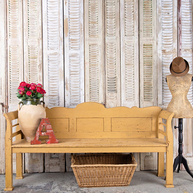 Yellow Farmhouse Bench, Hungary c. 1930