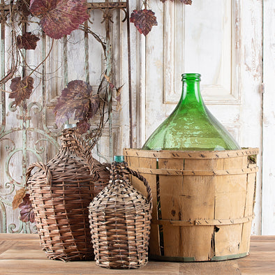 Authentic Green Demijohn in Wooden Basket, Italy c. 1970