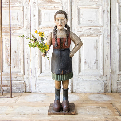 "Girl with Flowers, Folk Art (""Heidi""), Austria c. 1880"
