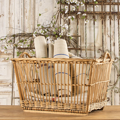 Large Open Spindle Laundry Basket, France c. 1930
