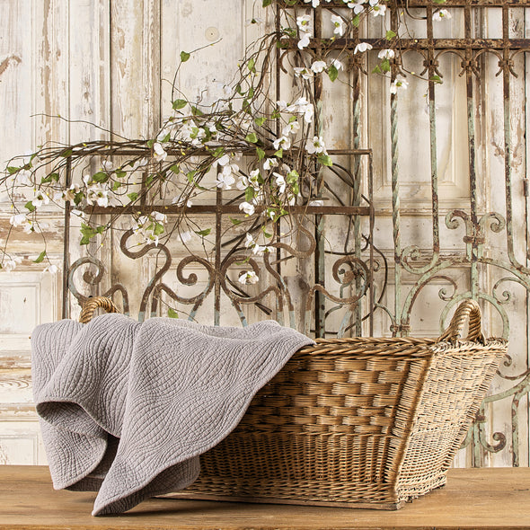 Large Wicker Laundry Basket, France c. 1920